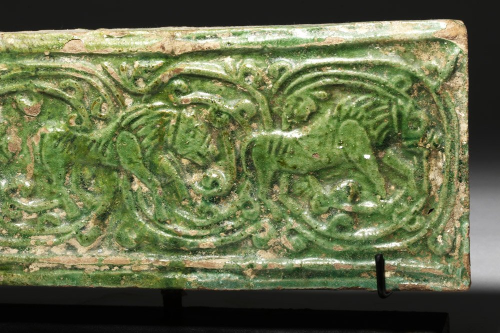 Chinese Green Glazed Pottery Temple Brick - 5