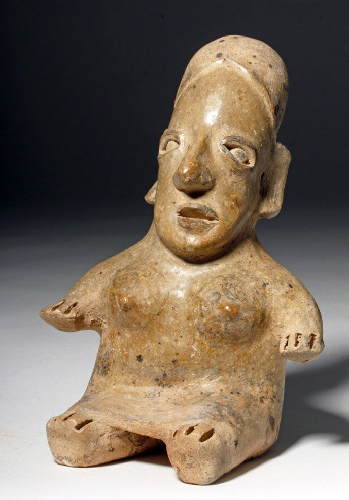 Fine Jalisco Ameca Gray Pottery Seated Female