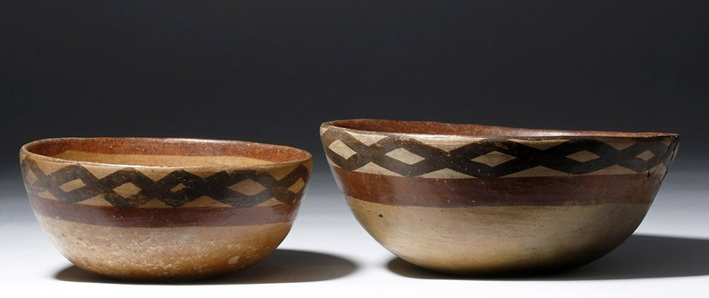 Pair of Cajamarca  Polychrome Terracotta Bowls