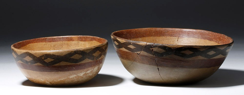 Pair of Cajamarca  Polychrome Terracotta Bowls - 2