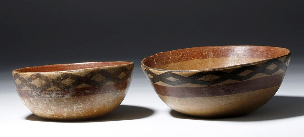 Pair of Cajamarca  Polychrome Terracotta Bowls - 3
