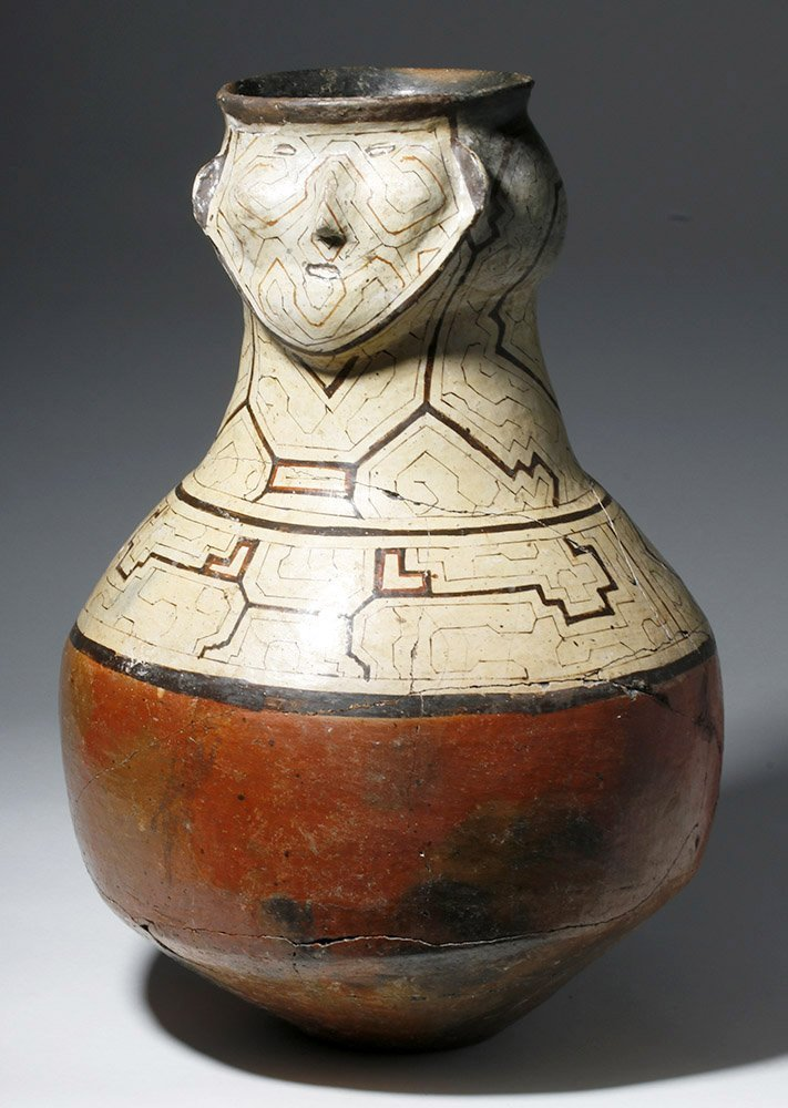 Large Amazonian Shipibo Pottery Jar w/ Human Face