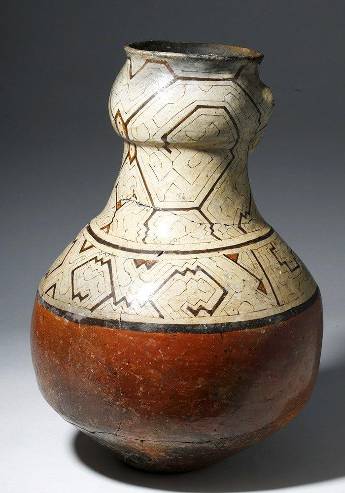 Large Amazonian Shipibo Pottery Jar w/ Human Face - 3