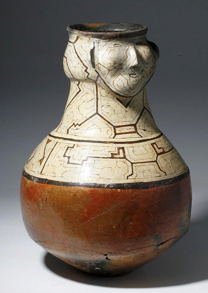 Large Amazonian Shipibo Pottery Jar w/ Human Face - 4