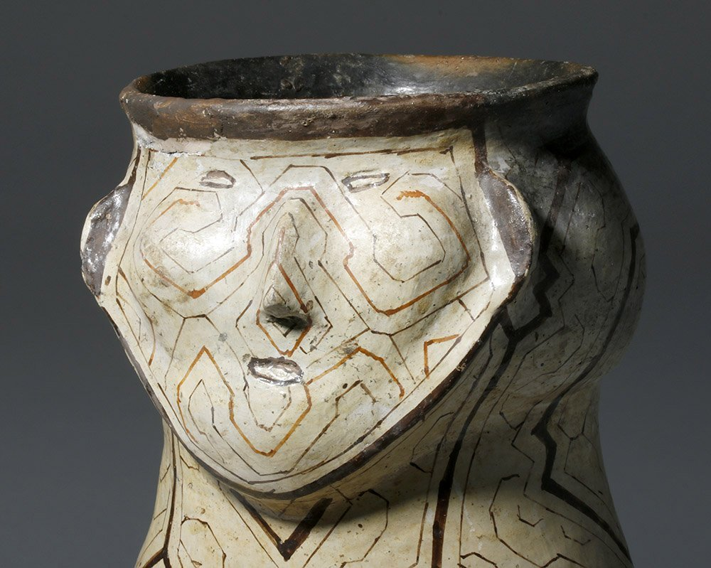 Large Amazonian Shipibo Pottery Jar w/ Human Face - 5