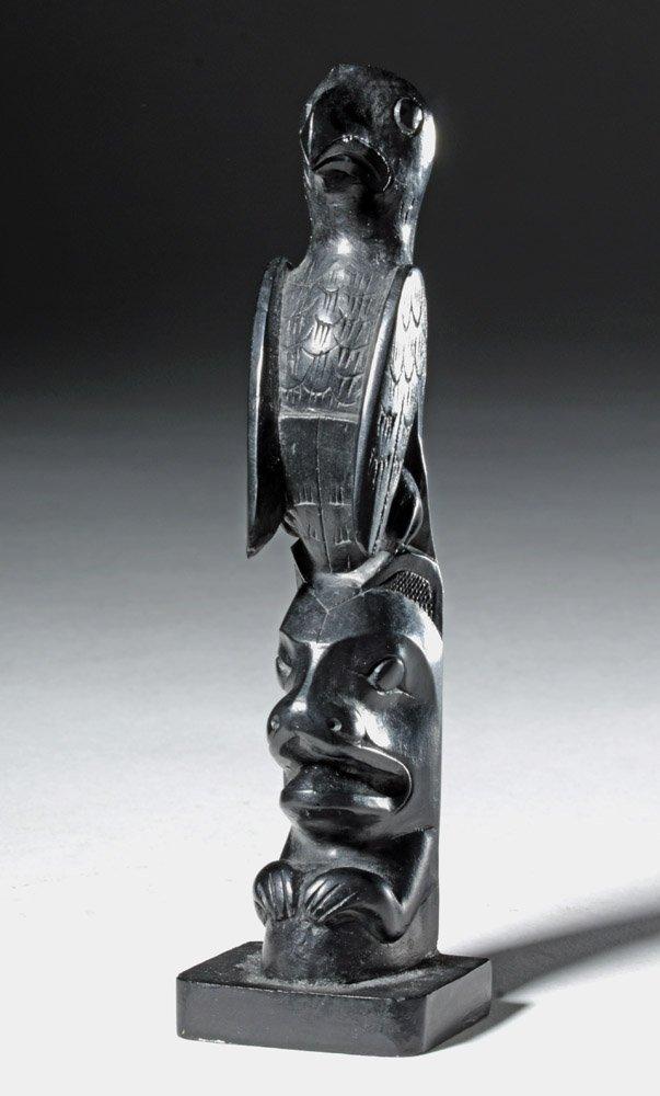 20th C. Pacific Northwest Haida Argillite Totem - 2