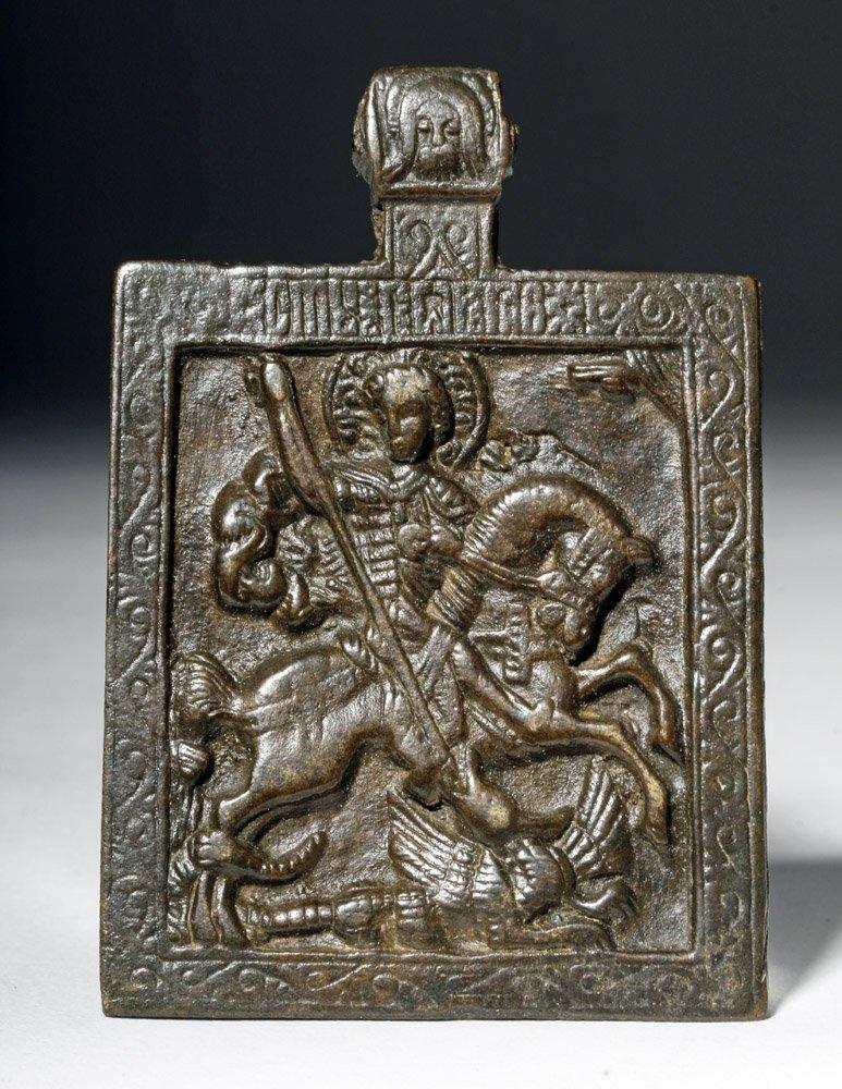 Russian Bronze Amulet of St George on Horseback