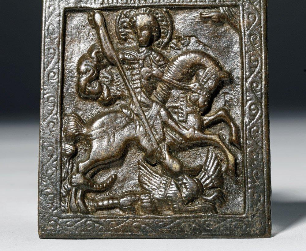 Russian Bronze Amulet of St George on Horseback - 3