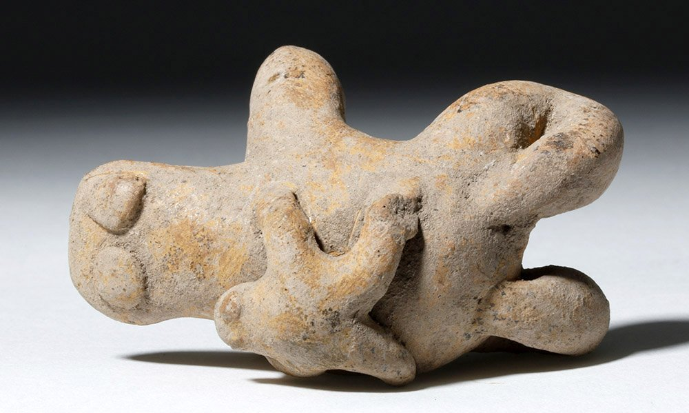 Rare Pre-Columbian Pottery Whistle 2 Frogs - 6