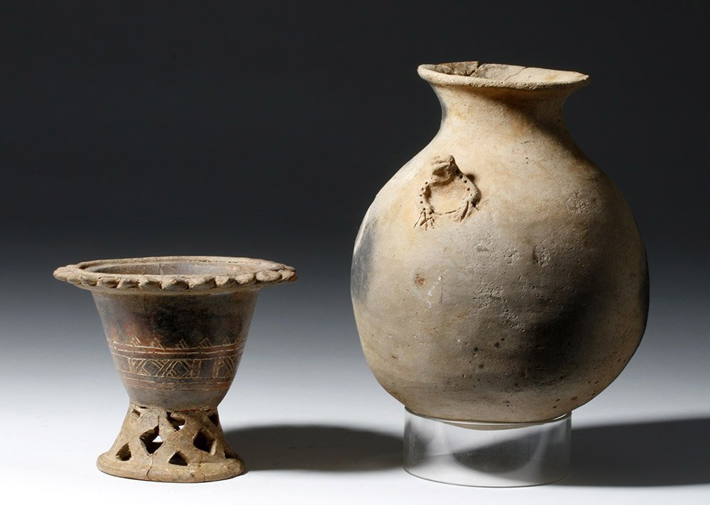 Pair of Costa Rican Pottery Vessels