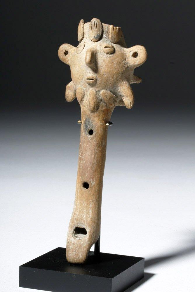 Pre-Columbian Colima Pottery Flute - Rare Form