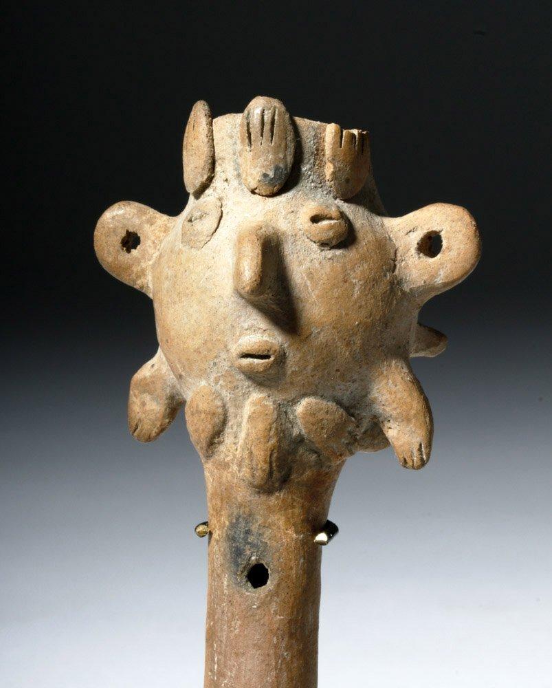 Pre-Columbian Colima Pottery Flute - Rare Form - 5