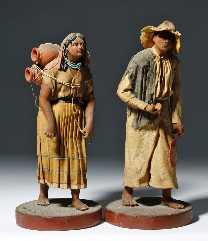 Pair 19th C. Mexican Wax Dolls - Nacimiento Figures