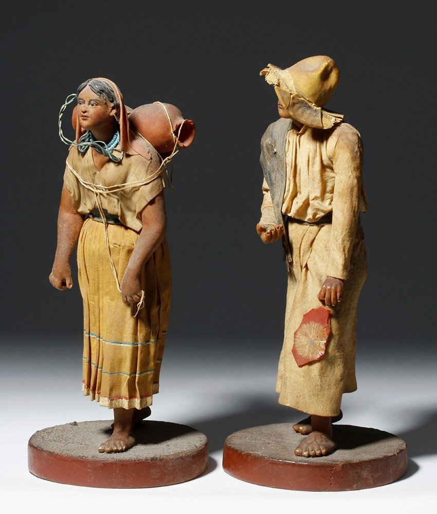 Pair 19th C. Mexican Wax Dolls - Nacimiento Figures - 2