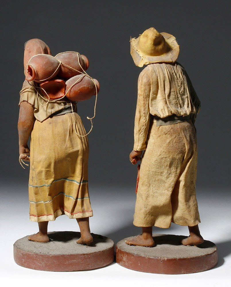 Pair 19th C. Mexican Wax Dolls - Nacimiento Figures - 3