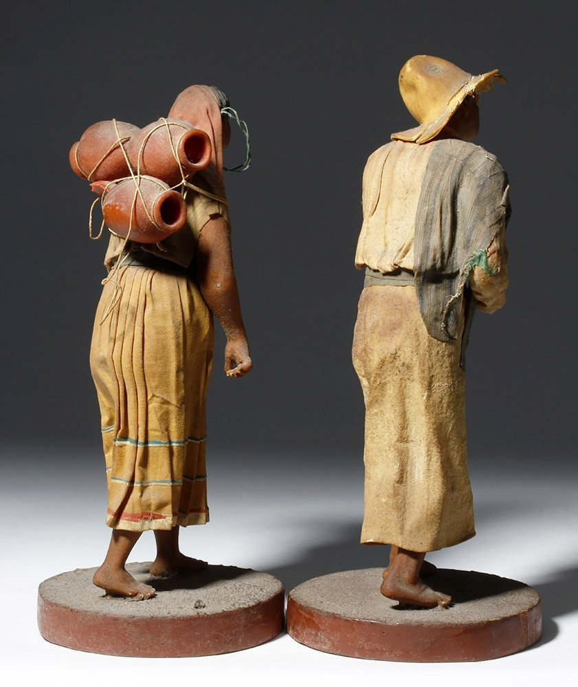 Pair 19th C. Mexican Wax Dolls - Nacimiento Figures - 4