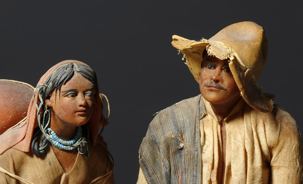 Pair 19th C. Mexican Wax Dolls - Nacimiento Figures - 5