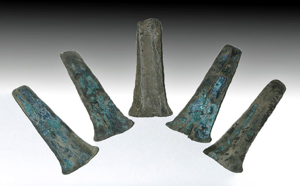 Group of 5 Aztec Copper Hoe Money Pieces