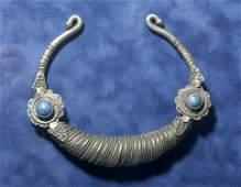 19th C. Pakistani Silver Torque w/ Lapis Lazuli