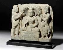 Very Fine Gandharan Stone Panel  Buddha  Attendants