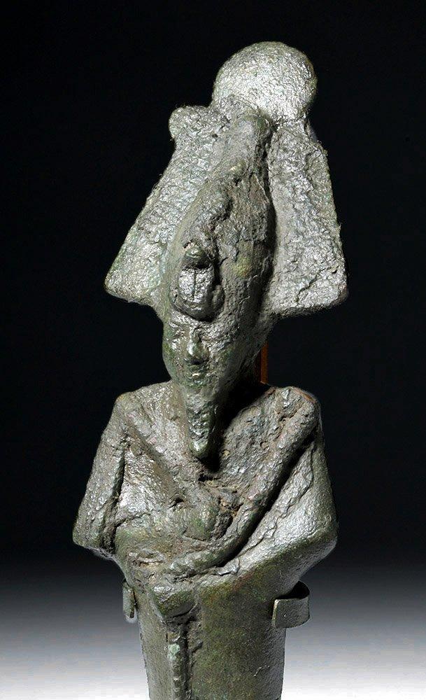 Tall Egyptian Bronze Standing Osiris Figure