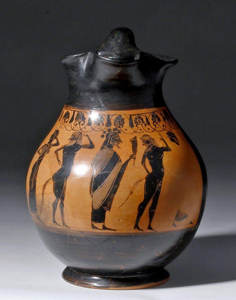 Superb Greek Attic Black Figure Oinochoe, ex-Bonham's