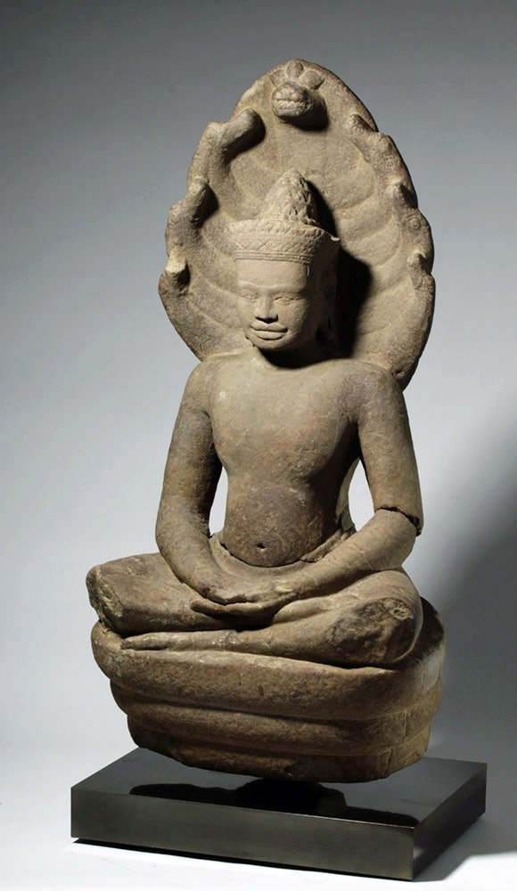 Incredible Khmer Stone Seated Naga-Enthroned Buddha