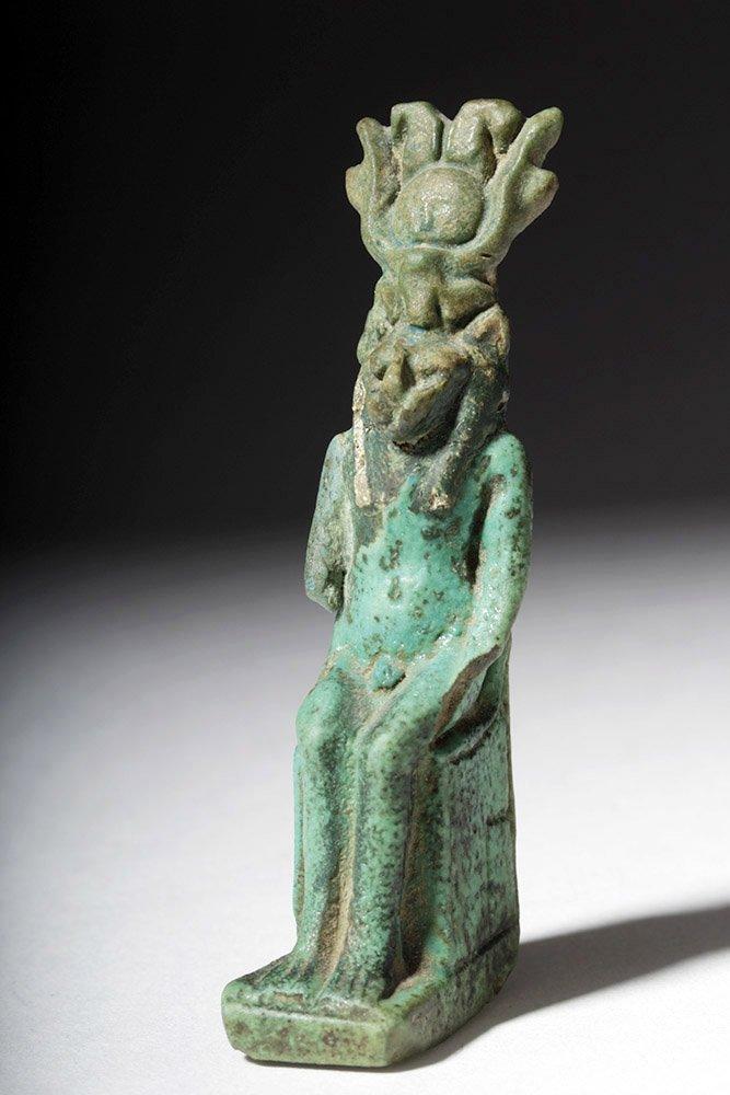 Egyptian Glazed Steatite Pendant - Seated Sekhmet