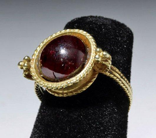 Ancient Roman 20K Gold Ring w/ Garnet Cabochon