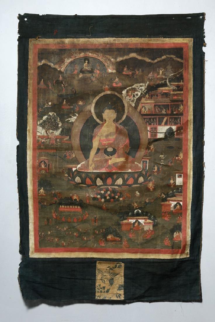 17th C. Tibetan Thangka - Jataka Tales Sakyamuni Buddha