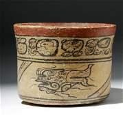 Important Mayan Codex Squat Cylinder w Fish