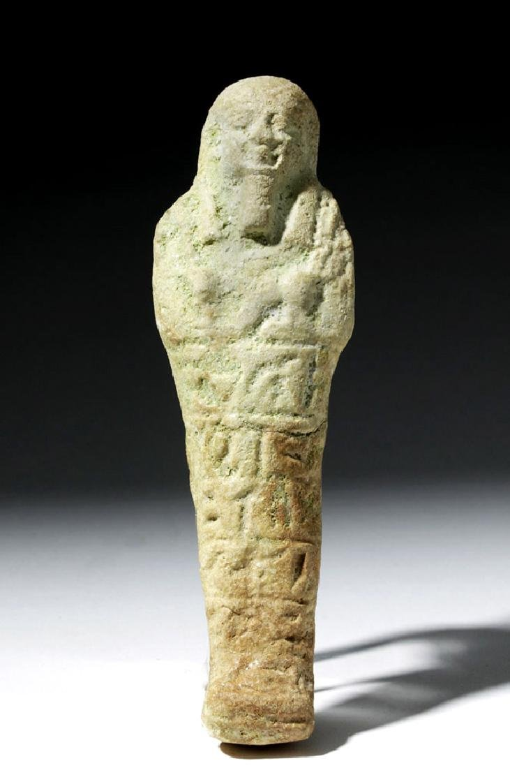 Ancient Egyptian Faience Ushabti with Hieroglyphs - 2