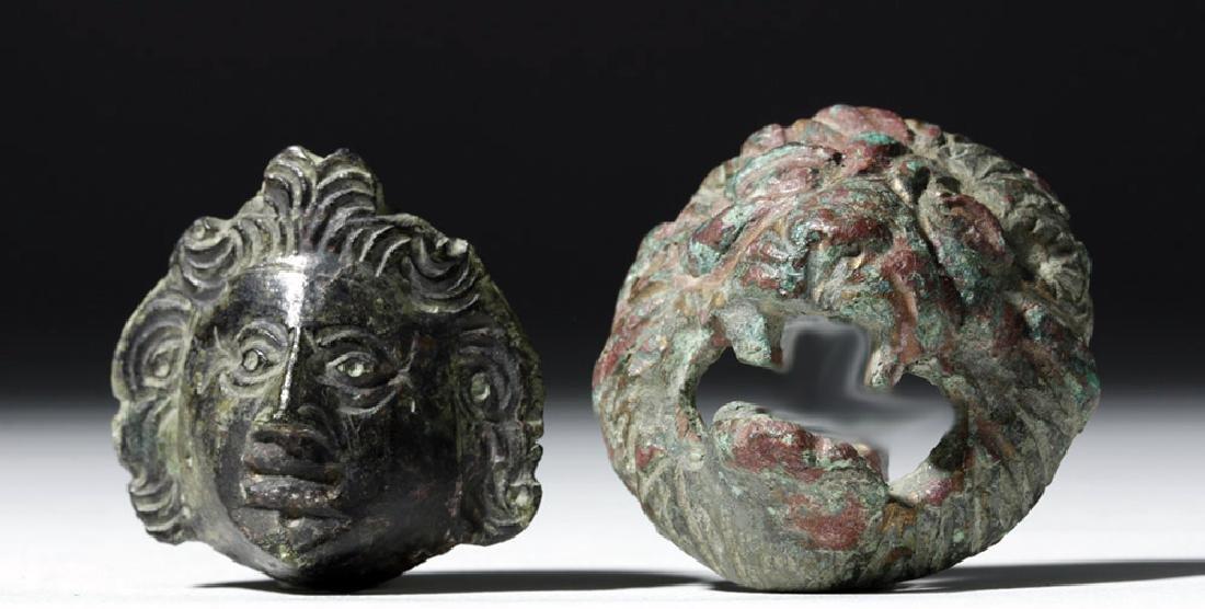 Roman Bronze Appliques - Face and Lion (pr)