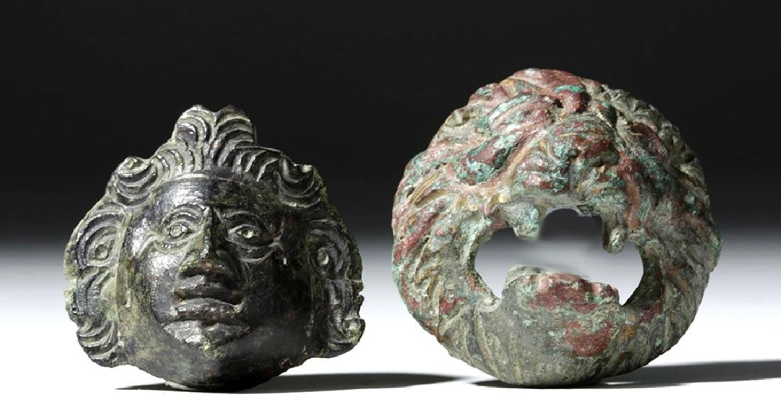 Roman Bronze Appliques - Face and Lion (pr) - 3