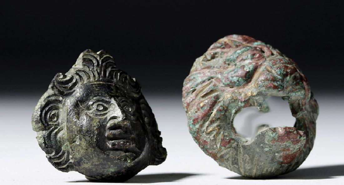 Roman Bronze Appliques - Face and Lion (pr) - 4