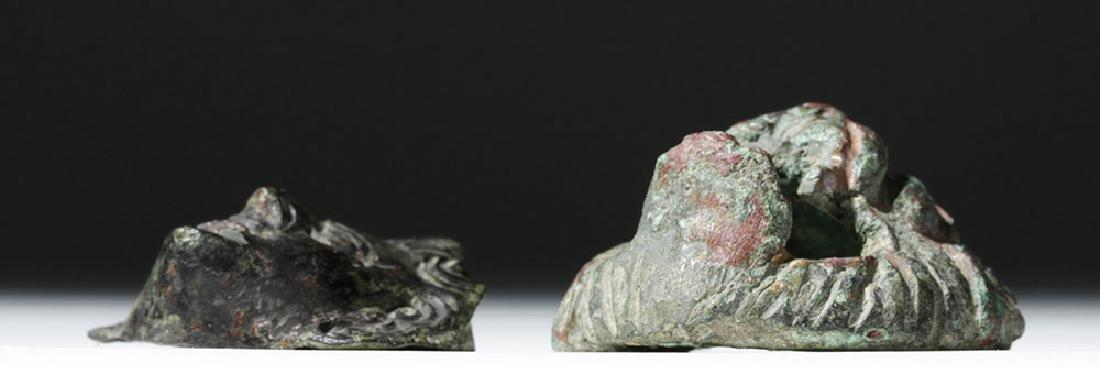 Roman Bronze Appliques - Face and Lion (pr) - 5