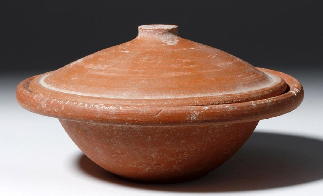 Roman Terra Sigilata Redware Covered Dish - 2
