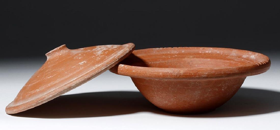 Roman Terra Sigilata Redware Covered Dish - 4