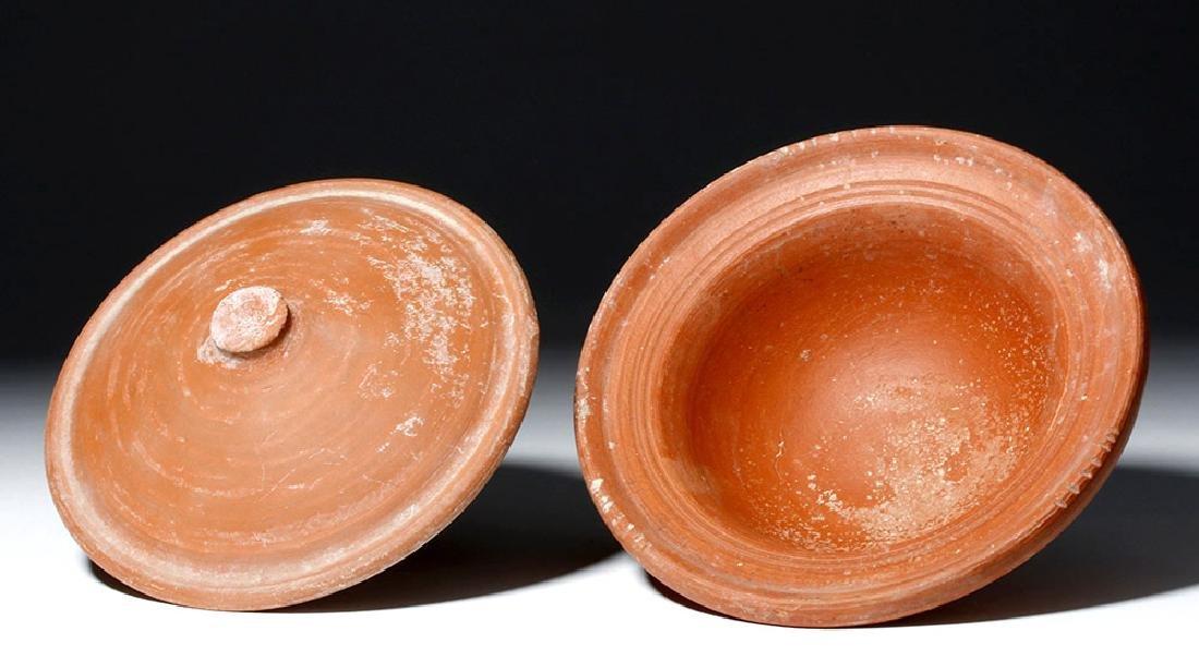 Roman Terra Sigilata Redware Covered Dish - 5