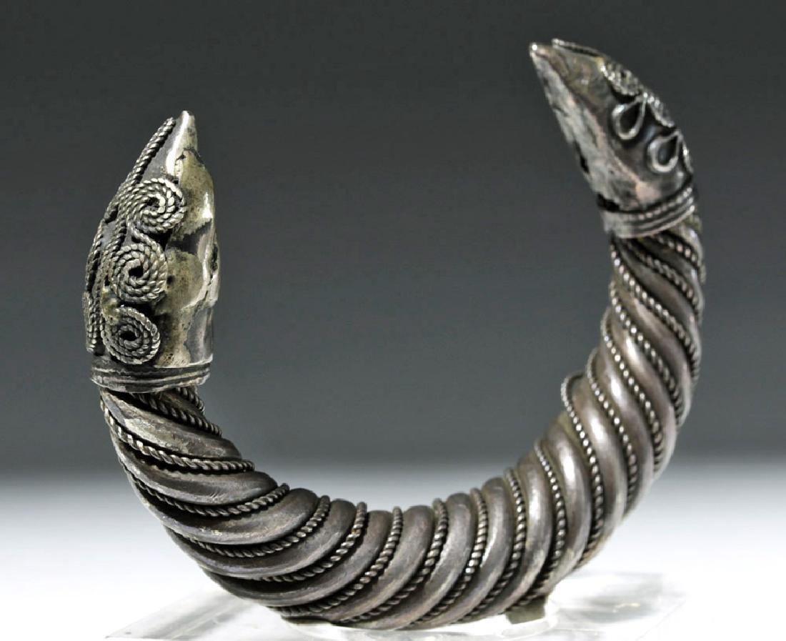 Ancient Sassanian Silver Cuff Bracelet