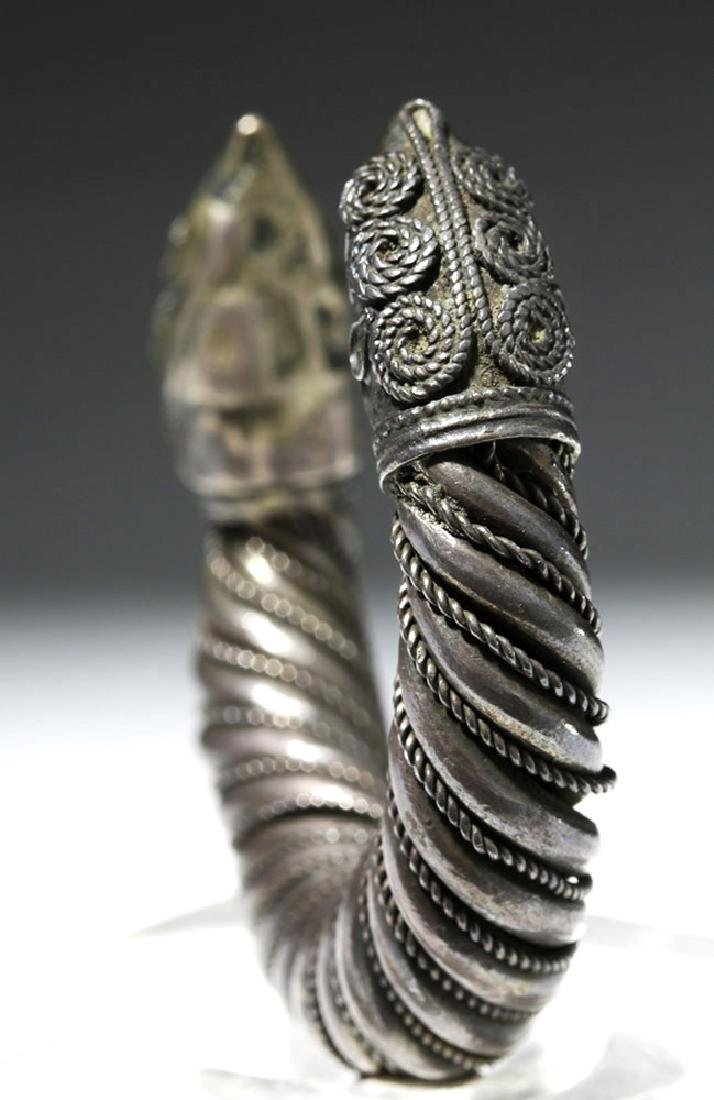 Ancient Sassanian Silver Cuff Bracelet - 5