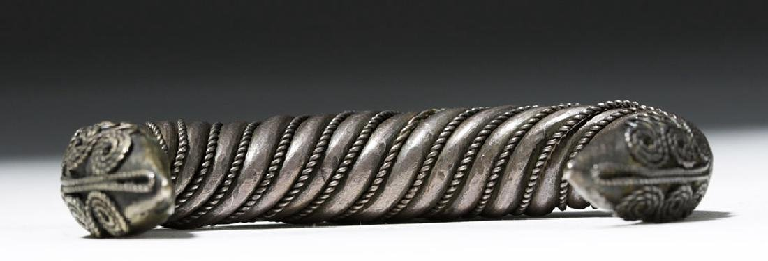 Ancient Sassanian Silver Cuff Bracelet - 6