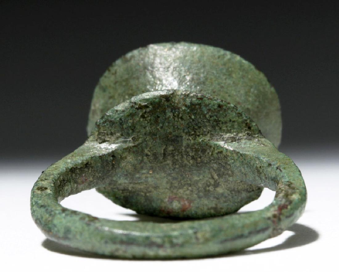 Byzantine Child's Bronze Ring w/ Cross - 3