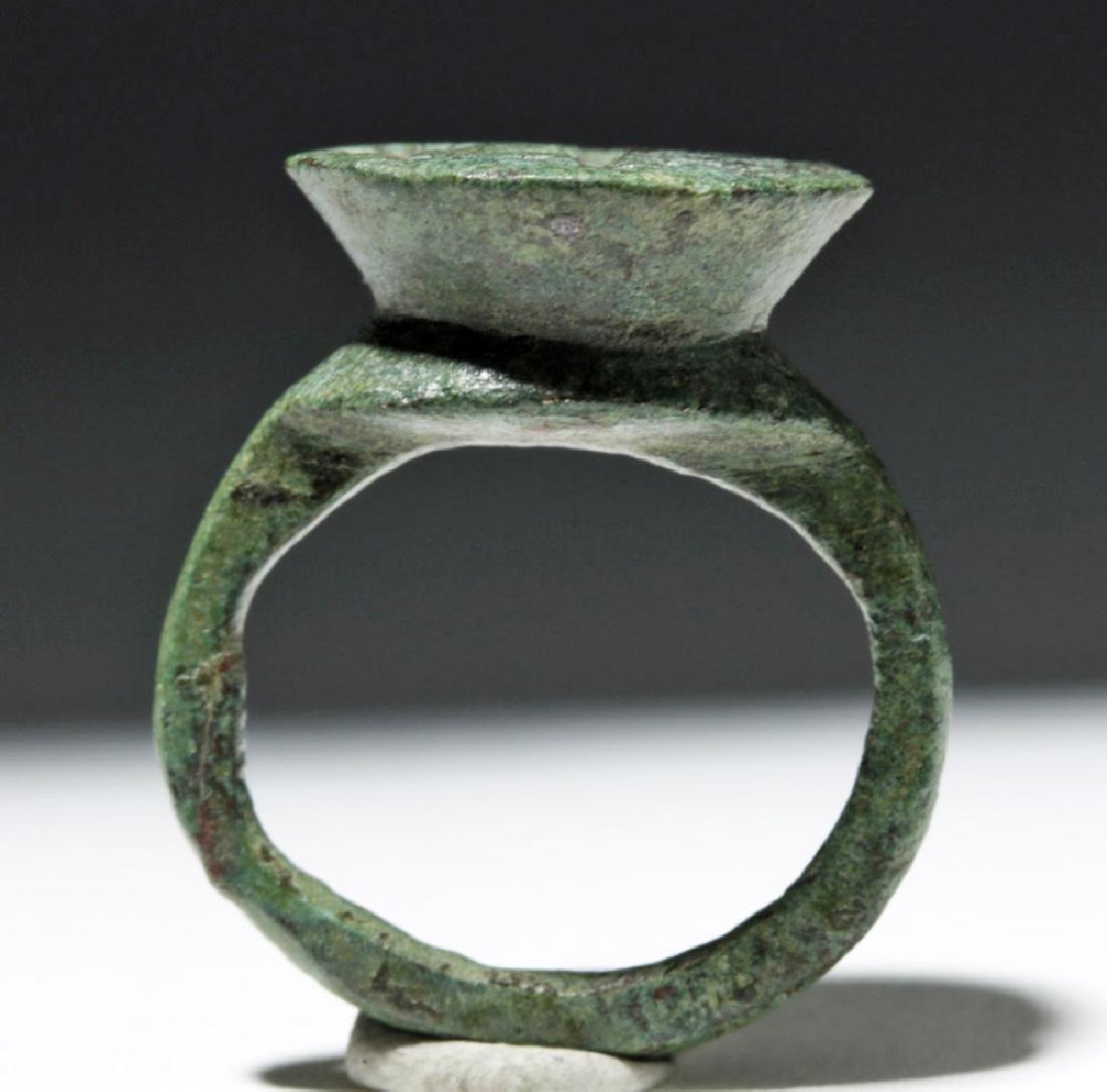 Byzantine Child's Bronze Ring w/ Cross - 5