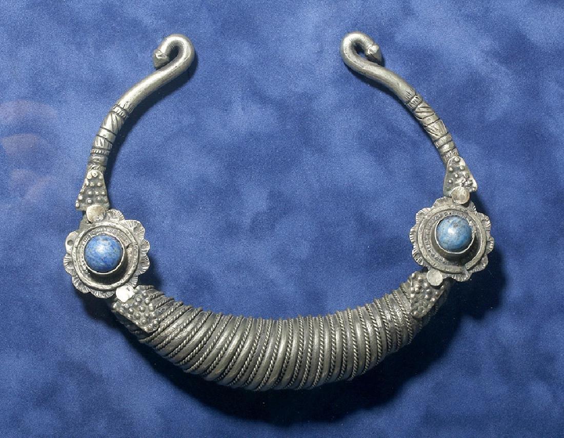19th C. Pakistani Silver Torc w/ Lapis Lazuli