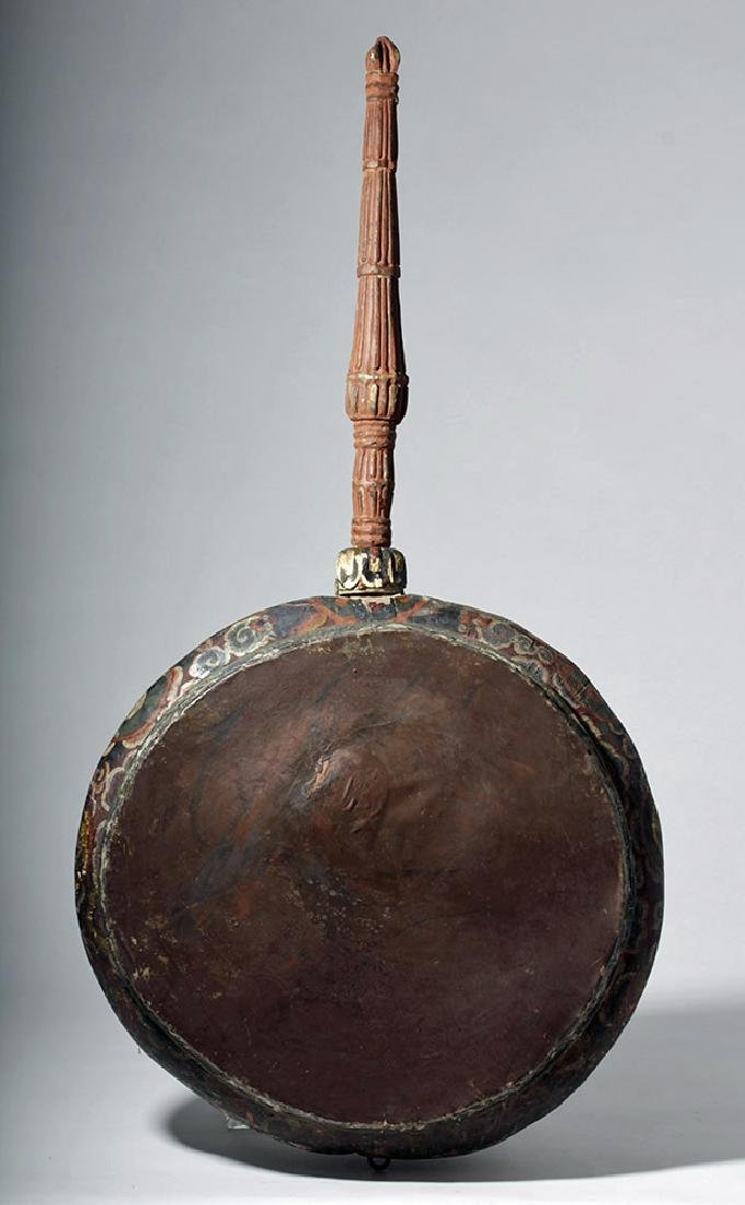 19th C. Tibetan Painted Wood / Leather Temple Drum