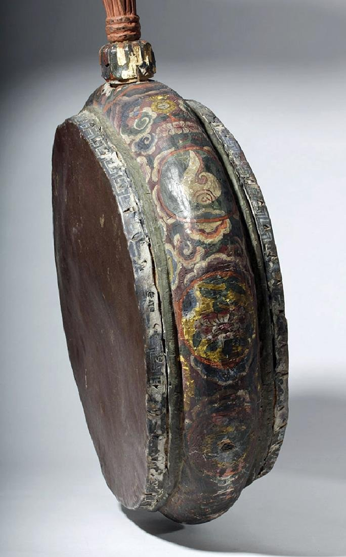 19th C. Tibetan Painted Wood / Leather Temple Drum - 2