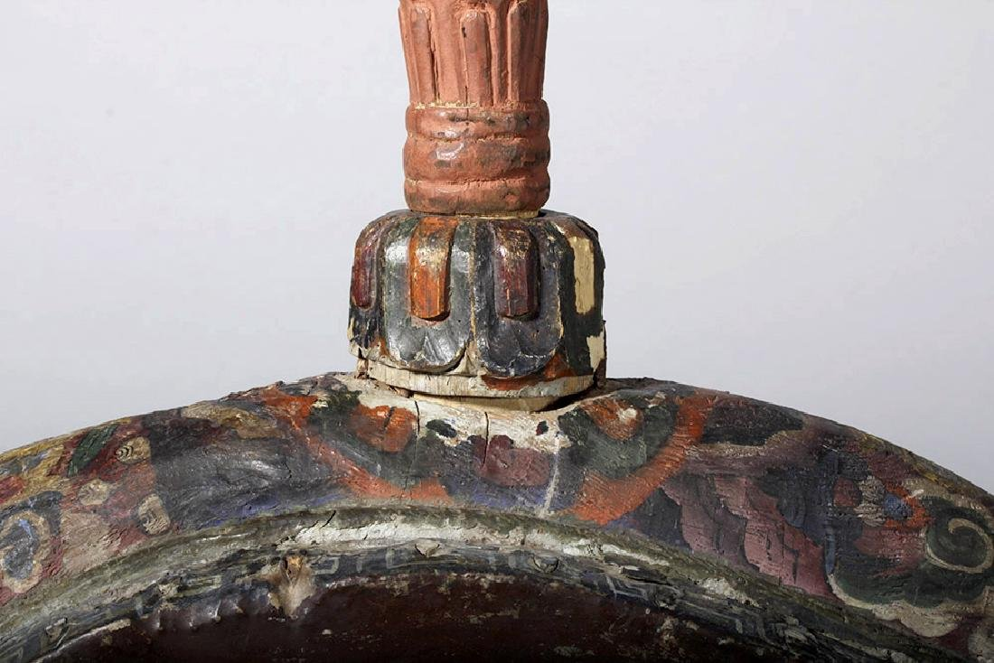 19th C. Tibetan Painted Wood / Leather Temple Drum - 4