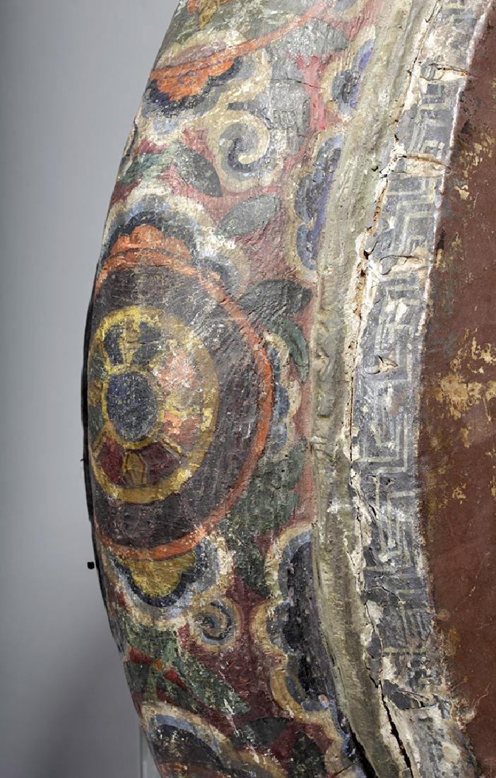 19th C. Tibetan Painted Wood / Leather Temple Drum - 5
