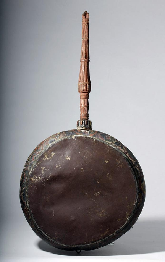 19th C. Tibetan Painted Wood / Leather Temple Drum - 6